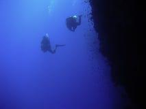 Taucher entlang einem Riff stockfoto