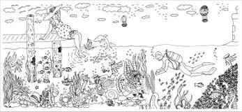 Taucher im Ozean mit vielen Fischen Schwangere Frau Regenbogen und Wolke auf dem blauen Himmel Lizenzfreies Stockfoto