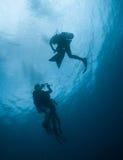 Taucher in Malediven Lizenzfreies Stockbild