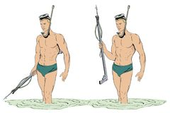 Taucher mit Gewehr für das Spearfishing Lizenzfreie Stockbilder