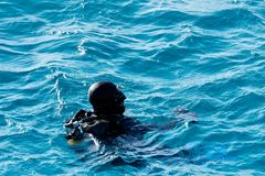 Taucher in Rotem Meer Stockfotografie