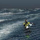 Taucher schwimmt an der Oberfläche von binärem Meer Stockbild