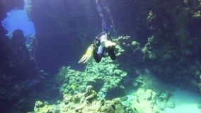 Taucher-Swim Through Underwater-Höhle stock video