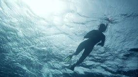 Taucherschwimmen an der Tiefe Rotes Meer stock video