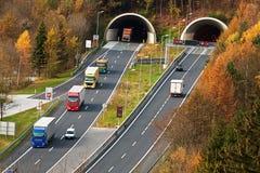 Tauern motorway i salzburg arkivfoto