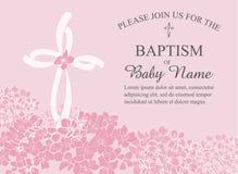 Taufe, Taufe, Kommunion oder Bestätigungs-Einladungs-Schablone mit den Quer- und Blumenakzenten Lizenzfreie Stockfotografie