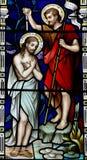 Taufe von Jesus im Buntglas Lizenzfreie Stockbilder