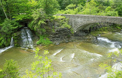 Taughannock Creek and bridge Stock Photo