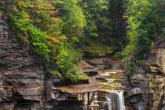 Taughannock Falls. The top of a waterfall near Ithaca, NY. Taughannock Falls, the tallest single stage waterfall in the Northeast US stock photos