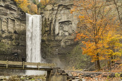 Taughannock Falls and Bridge Royalty Free Stock Images