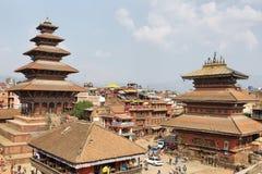 taumadhi正方形的, Bhaktapur,尼泊尔Nyatapola塔 免版税库存照片