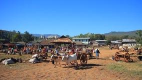 Taung-al mercado de cinco días del mercado situado por el pueblo de la orilla del lago al sur de la ciudad de Nyaungshwe del lago almacen de metraje de vídeo