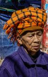 Portrait of old Burmese woman stock photo