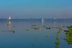 Taungthaman Lake Amarapura  Mandalay state Myanmar Stock Photos