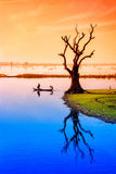Taungthaman Lake near Amarapura. Myanmar Royalty Free Stock Photos
