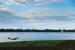 Taungthaman Lake and pagodas Royalty Free Stock Image