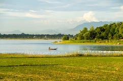 Taungthaman Lake and u-Bein bridge Royalty Free Stock Photo