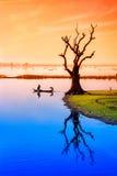 Taungthaman sjö nära Amarapura Royaltyfria Foton