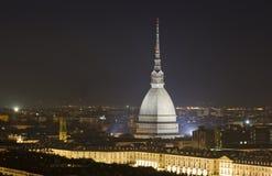 Taupe Antonelliana par nuit Photos libres de droits
