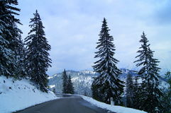 Tauplitz alps in winter time. Panorama on alps from tauplitz mountain in styria, austria. winter snow landscape.  white beauty on the road Stock Photos