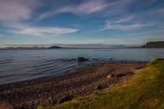 Taupo lake. The largest volcanic lake on New Zealand`s north island Stock Images