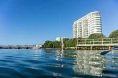 Tauranga harbour and high-rise apartment building stock images