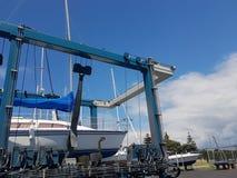 Tauranga Marina hardstand podróży dźwignięcie z jachtem podnoszącym dla mai Zdjęcie Stock