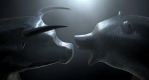 Taureau contre l'ours Image stock