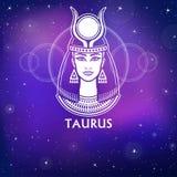 Taureau de signe de zodiaque Princesse fantastique, portrait d'animation Dessin blanc, fond - le ciel stellaire de nuit Illustration Stock