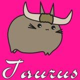 Taureau de signe de zodiaque de lapin dans le style de bande dessin?e illustration stock