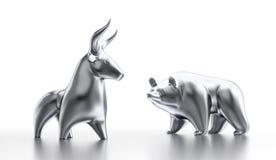 Taureau et marché à la baisse Photo stock