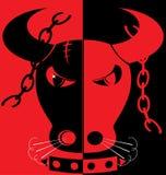 taureau fâché de fond rouge-noir Image stock