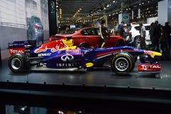 Taureau rouge Vettel, salon international d'automobile de Rikyardo Moscou Image libre de droits