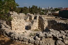 Tauric Chersonese废墟在塞瓦斯托波尔 免版税库存照片