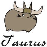 Tauro de la muestra del zodiaco del conejito en estilo de la historieta stock de ilustración
