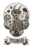 Tauro del cráneo del zodiaco Gráfico de la mano en el papel ilustración del vector