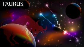 Taurus αστρολογικά σημάδι και διάστημα αντιγράφων Στοκ Φωτογραφία