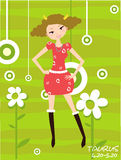 Taurus. Vector illustration of a girl and taurus Royalty Free Stock Photo