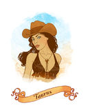 Taurus  astrological sign as a beautiful girl Stock Image