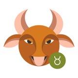 Taurus astrology sign isolated on white. Horoscope zodiac symbol Stock Image