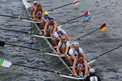 Taurus Boat Club races in the Head of Charles Regatta Men's Championship Eights Royalty Free Stock Images