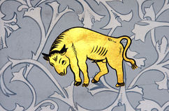Taurus the bull zodiac sign. Ancient wall painting of a zodiac symbols of taurus stock images