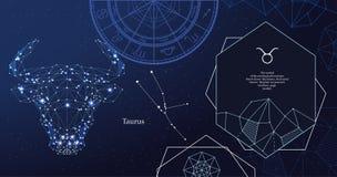 Taurus del segno dello zodiaco Il simbolo dell'oroscopo astrologico Insegna orizzontale illustrazione vettoriale