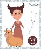Taurus del segno dello zodiaco Personaggio dei cartoni animati divertente Fotografia Stock