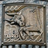 Taurus. This is a Fall picture of a piece of public art titled: Taurus, on exhibit on the exterior walls of the iconic Adler Planetarium located in Chicago royalty free stock images
