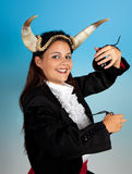 Taurus girl. Taurus or Bull woman, this photo is part of a series of twelve Zodiac signs of astrology royalty free stock photos