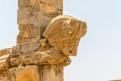 Taurus head Persepolis. Taurus head part of the old wall of the ruins of old city Persepolis stock photo