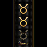Taurus Horoscope Symbols. Golden embossed zodiac icons in three styles for the astrology Earth Sign, Taurus, with textured black background Royalty Free Stock Images