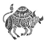 The taurus sign horoscope  ethnic style outline Stock Images