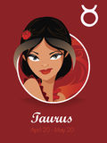 Taurus sign vector. Female taurus sign  vector illustration Royalty Free Stock Photo
